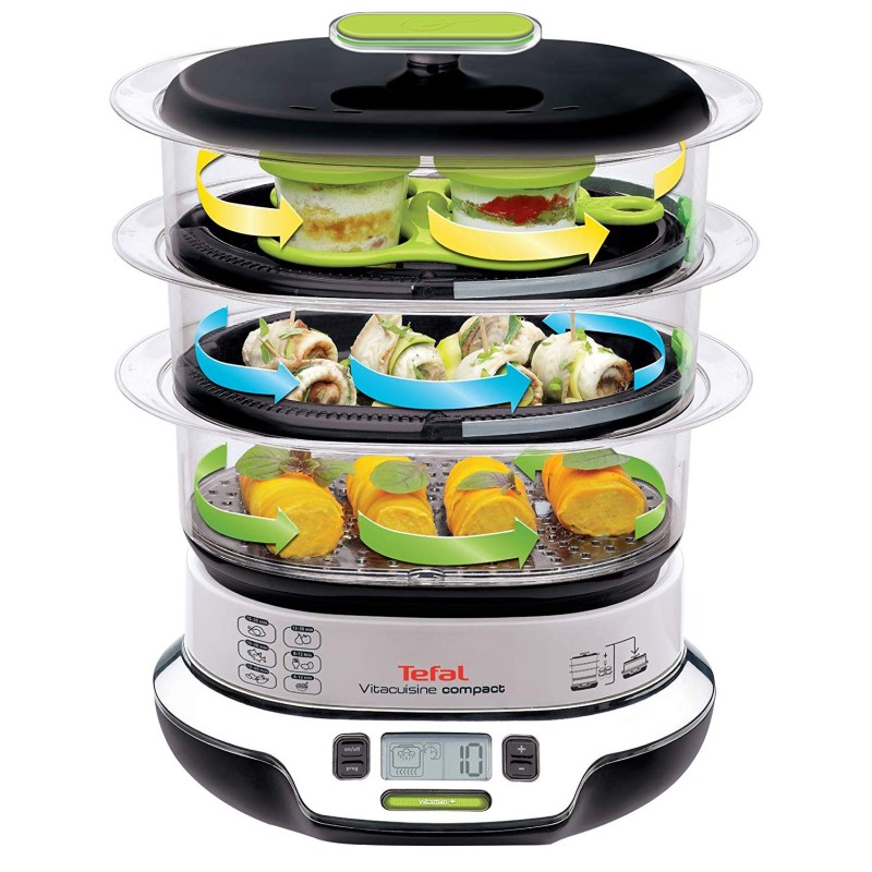 Mit dem Tefal VS4003 Dampfgarer können Sie 3 Gerichte auf einmal kochen